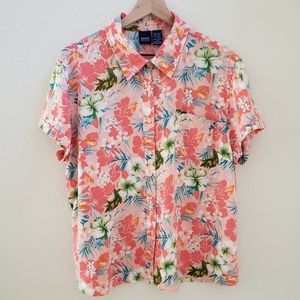 Floral Hawaiian 100% Rayon Button Down Spr…